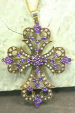 Natural Amethyst Yellow Gold Fine Brooches & Pins