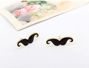 Xmas Antique vintage fashion mustache earring stud