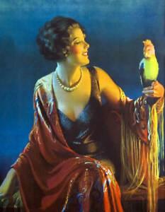 Lady by dark sea with bird by Gene Pressler