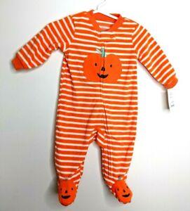 New Adorable Pumpkin Halloween Baby Zip up Soft Orange Striped Sleeper -3 Months