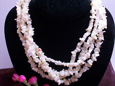Handmade Mother's day gift beautiful  4 STRANDS MOTHER OF PEARL CHIPS NECKLACE