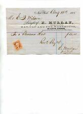 Vintage Billhead E MULAN HAT CAP & FUR WAREHOUSE NY 1865 revenue stamp