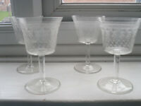 A Vintage Set Of 4 Drinking Glasses Very Pretty & Delicate Etched Clear Glass