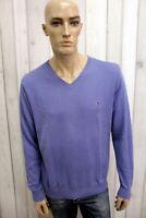 TOMMY HILFIGER Uomo Taglia L Maglione Viola Cotone Casual Sweater Manica Lunga