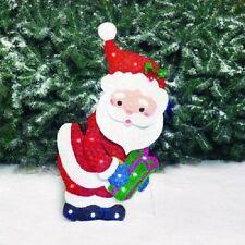 "28""LED Glittering Metal Santa with Present Outdoor Christmas Decor Yard Art"