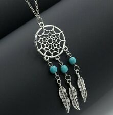Silver/Gold Alloy Dreamcatcher Feather Chain Pendant Necklace Dream Catcher BOX