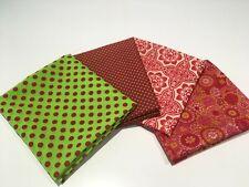 Lime Green Spots & Raspberry Vibrant 100% Cotton Fabric 4 Pc Fat Quarter Bundle