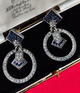 Vintage Art Deco Style Geometric Crystal Stud Dangle Earrings