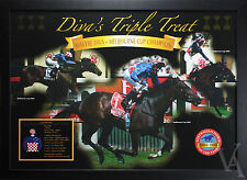 MAKYBE DIVA TRIPLE TREAT MELBOURNE CUP CHAMPION FRAMED POSTER HORSE RACING