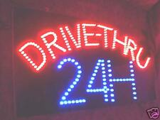 NEW DRIVE THRU 24H OPEN LED neon SIGN 23.5x11.5