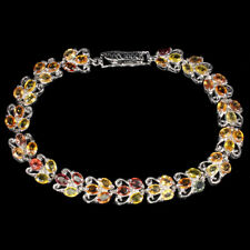 Oval Sapphire Multi-Color 4x3mm Whie Gold Plate 925 Sterling Silver Bracelet 7in