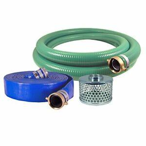 "Eagle Hose PVC/Aluminum Water/Trash Pump Hose Kit 3"" Green Suction Hose New"