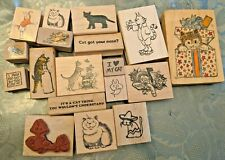 Lot of 18 Cat-Themed Mounted Rubber Stamps
