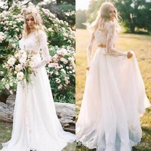 Two Piece Boho Beach A-line Wedding Dress Lace  Bridal Gowns custom size