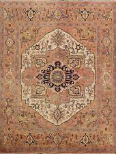 Geometric Ivory Heriz Classic Oriental Area Rug Hand-knotted Carpet 8'x8' Square