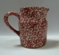 "Henn Pottery Country Red Sponge Ware Crock Pitcher 6"" H Roseville USA"