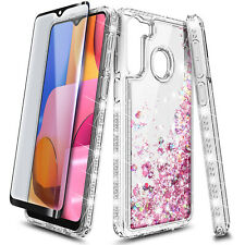 For Samsung Galaxy A21 Case Liquid Glitter Bling Cover +Tempered Glass Protector