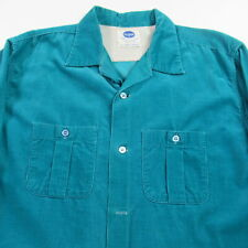 VINTAGE 50s Pilgrim Corduroy Button Shirt Teal Made in USA Rockabilly MENS LARGE