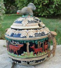 belle soupière en céramique allemande a décor de chasse