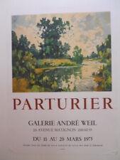 """Affiche originale """"Marcel Parturier """" 1901-1976 galerie André Weill 1975"""