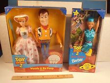 1999 MATTEL TOY STORY 2 *WOODY & BO PEEP DOLL GIFT SET w/TOUR GUIDE BARBIE* MIB