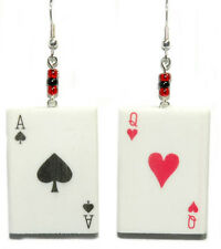 LARGE RUBBER PLAYING CARD DANGLE EARRINGS (D024)