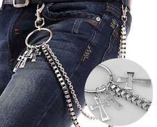 NEW Men Double Link Cross Pants Wallet Chains Biker Trucker Punk Jean Key Chain