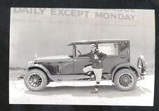 REAL PHOTO 1925 HUDSON CAR DEALER ADVERTISING POSTCARD COPY BASEBALL PLAYER
