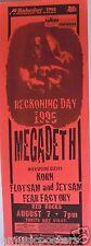 """MEGADETH / KORN / FEAR FACTORY """"RECKONING DAY 1995 TOUR"""" DENVER CONCERT POSTER"""