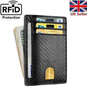 Men Anti-scan Leather Slim ID Credit Card Holder RFID Blocking Thin Small Wallet