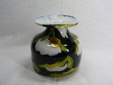 edle Blumenvase Kristall mit farbigen Einschmelzungen schwarz / grün v. Joska