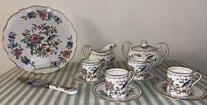 Aynsley Pembroke Bone China Tea Set W/ Pastry Platter & Cake Cutter