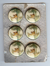 VINTAGE JAPANESE SATSUMA BIRDS IN BAMBOO PORCELAIN BUTTONS SET OF SIX