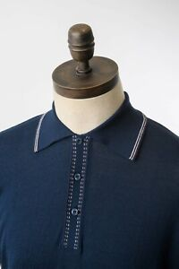 KNITTED POLO SHIRT ART GALLERY CLOTHING Navy Blue S Mod Sixties