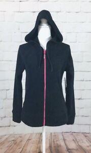 Nwt Asics Women's Black Front Full Zip Polar Fleece Hooded Athletic Jacket Sz M