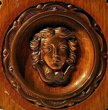 Mascaron Antique Art Deco Element Decorative Wood Copper Head Panel