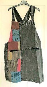 GRINGO Boho Cotton Short Dungaree Dress Hippy   Size 8 10 12 14 RED BLUE BLACK