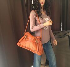 Authentic Chloe Calfskin Large Paraty Caramel Shoulder Handbag