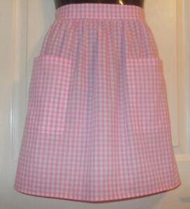 Pink Gingham  Vintage Style Half / Waist Apron/Pinny