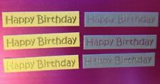 20 SILVER GOLD HAPPY BIRTHDAY MINI SENTIMENT BANNER CARD MAKING EMBELLISHMENTS
