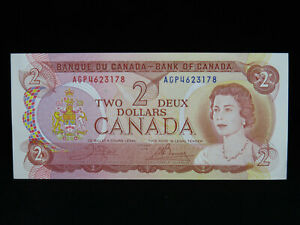 1974 $2 Bank of Canada Banknote AGP 4623178 Crow Bouey AU-UNC Grade Bill