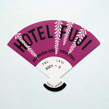 "#2261 Hand Fan Hotel Fuji Tokyo Japan Travel vintage 4""x5"" luggage label Sticker"