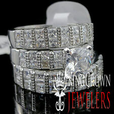Solid Silver Princess Cut Simulated Diamond Mens & Womens Bridal Trio Rings Set