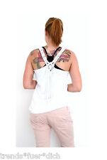 Damen Top Träger geflochten Boho T-Shirt ärmellos Häkel Fransen weiß 38 40 42 M