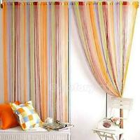 1m x 2m Solid Lined String Window Curtain Tassel Door Room Divider Scarf Valance