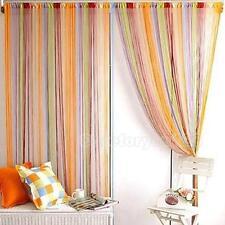 1m x 2m Solid Lined String Window Curtain Tassel Door Room Divider Scarf Valance