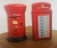 Vintage English Mailbox and Phone booth salt and pepper Ceramic RED