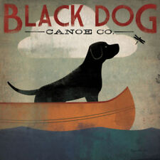 Black Dog Canoe by Ryan Fowler Vintage Ads Dog Print 12x12