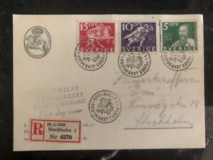 1936 Stockholm Sweden First Day Postcard Cover Domestic Used