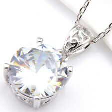 Holiday Round Cut Natural White Fire Topaz Platinum Plated Necklace Pendant